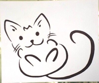 Large, Charming & Attractive, 'cute Kitten', Black & White Modern Art Painting.