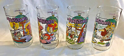 The Flintstones 1991 Hardee's Drinking Glasses The First 30 Years Set of 4 EUC