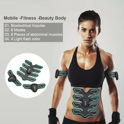 Abdominal Toning Muscle Trainer EMS Toner Abs Smart Fitness Pad+Arm Host Sticker