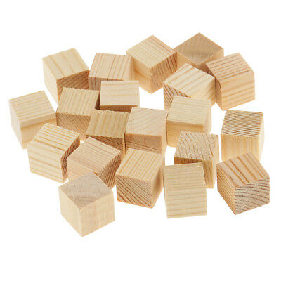 Blank Wooden Cube Blocks Unfinished Wood Shapes for DIY Wood Crafts Woodworking