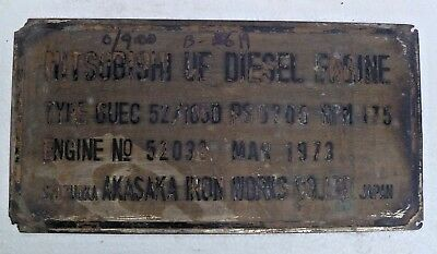 Marine Vintage Ship Nautical Brass Name Plate - Signs - Mitshubishi Diesel - B19