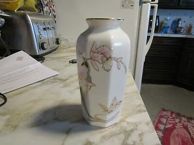 Japan Fine China 65 Tall Blue Porcelain Vase With Butterfly Design