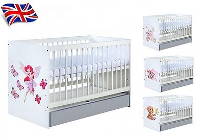 BABY CHILD WHITE COT BED WITH/WITHOUT GREY DRAWER CONVERTS into JUNIOR BED 2IN1