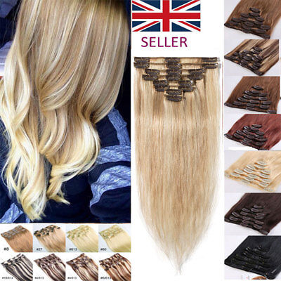 Silky 100% Real Soft Clip in Human Hair Extension Remy Hair Full Head UK LEE158