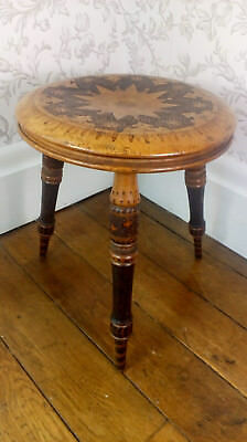 Antique Wooden 3-Legged Stool with Poker Work Decoration, Arts and Crafts