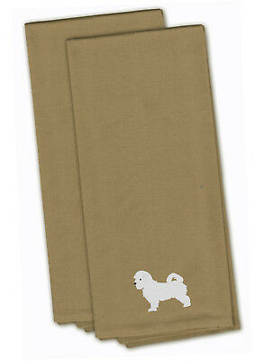 Carolines Treasures  BB3436TNTWE Maltese Tan Embroidered Kitchen Towel Set of 2