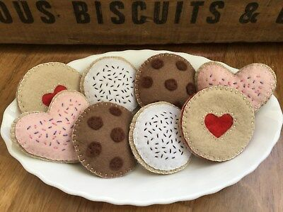 Pretend Toy Play Felt Food - Handmade Felt Biscuits / Cookies - Toy Kitchen Food