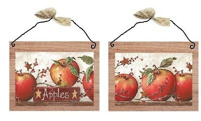 Apple Pictures Primitive Country Kitchen Wall Hangings Home Decor Plaques  Apples