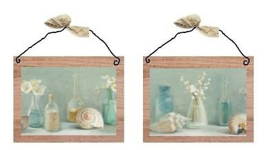 Blue Bathroom Pictures Beach Shells Bottles Bed Bath Wall Hangings Plaques