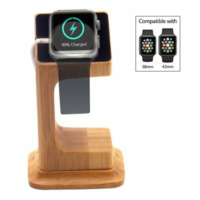 Apple Watch And Charging Dock Stand iWatch Charger Holder Bracket Wooden New US