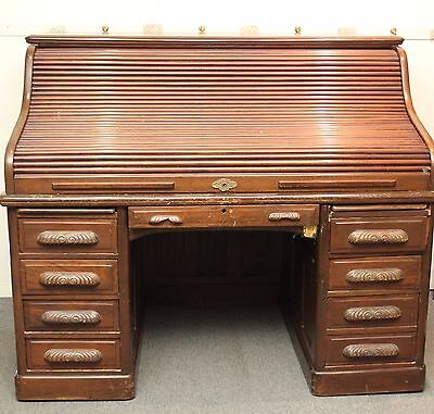 Antique 19th Century Mahogany Roll Top Desk - ANTIQUE 19TH CENTURY Mahogany Roll Top Desk - $499.00 PicClick