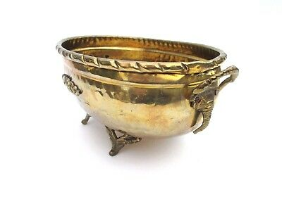 Vintage Hammered Brass Footed Jardiniere Planter Bowl with Elephant Head Handles