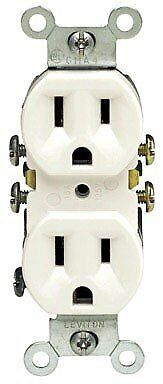 Leviton 212-5320-WCP White Residential Grade Straight Blade Duplex Receptacle