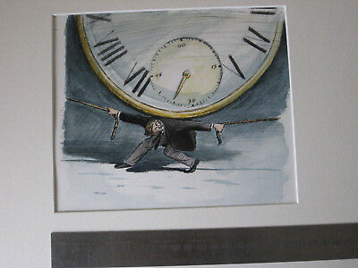 "Original Cartoon Artwork Claudio Munoz   ""clock""  Illustration"