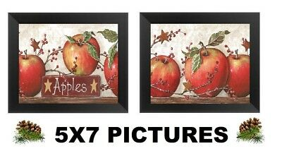 5x7 Apple Pictures Primitive Country Kitchen Wall Hangings Home Decor Apples