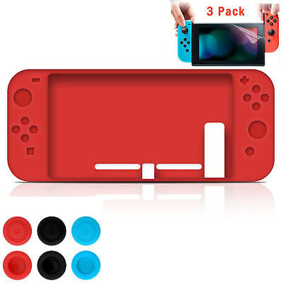 For Nintendo Switch Full Silicone Body Cover + 3 Pairs Caps+3 Screen Protector