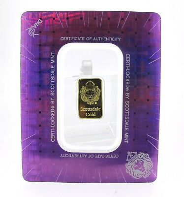 2 gram Scottsdale Mint .9999 Gold Bar - Sealed in Certi-Lock