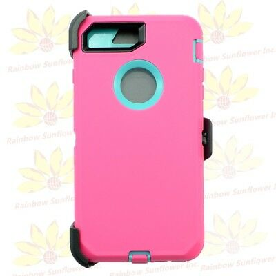 Pink Teal for iPhone 7 Plus Defender Case Cover w/ Belt Clip Fits Otterbox