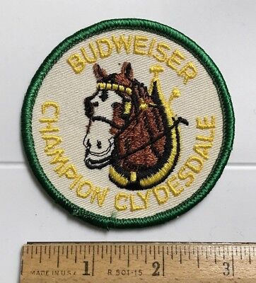 Budweiser Bud Beer Champion Clydesdale Horse Mascot Round Embroidered Patch