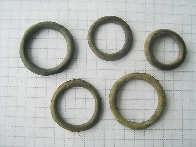 Ancient Viking bronze rings 5 pieces