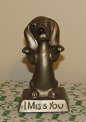 Vtg Basset Hound I Miss You Figurine Bronze Color Marked A.T.  69 Very Nice!