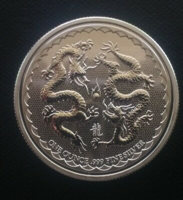 1 oz silver double dragons! Niue 2018 BU .999 pure limited! Asia China Japan