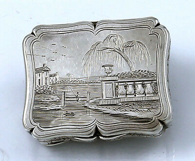 lFishing Scene ENGLISH SILVER VINAIGRETTE Edward Smith Birmingham 1843