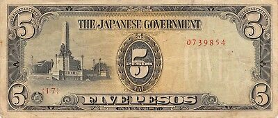Philippines 5 Pesos ND 1943 P.110 Japanese Government Occupation Circ.