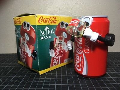 Coca-Cola Action Coin Bank With Box Novelty Collectible Works!