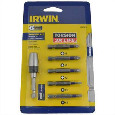 Qty 50 Torsion 3x Screwdriver 6 Piece Set Phillips + Square + Bit Holder Irwin