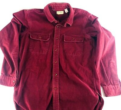 Vintage Mens Large LL BEAN Chamois Shirt Red/ Burgundy Size 15.5 Made in USA