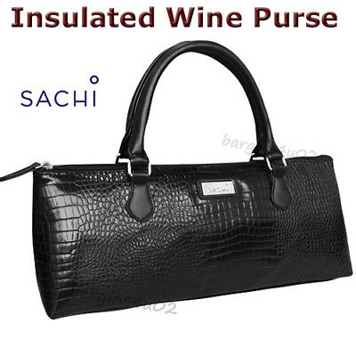 Sachi Wine Bottle Insulated Cooler Bag Tote Carrier Purse Handbag Croc Black