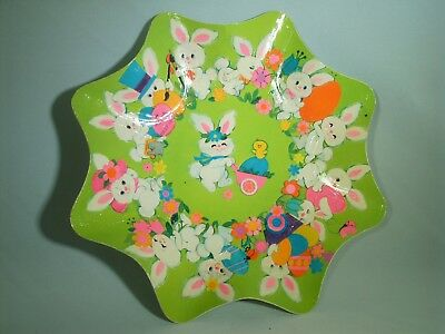 Vintage Hallmark Pressed Molded Paper Tray Bowl Scalloped Edge Easter Bunny Eggs