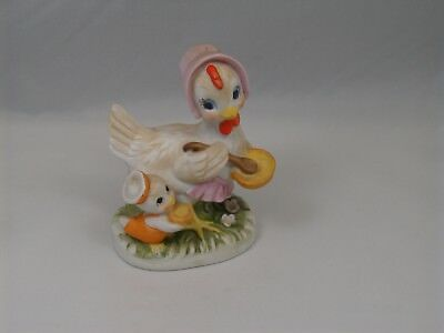 Vintage Hen with Spoon and Bowl Feeding Baby Chick  Porcelain Bisque Figurine
