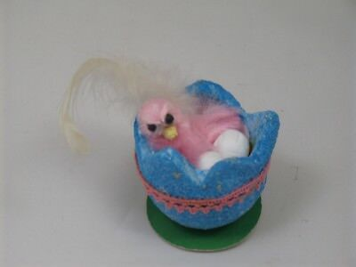 Vintage Easter Fuzzy Pink Chick Feather Hatching Glitter Styrofoam Blue Egg