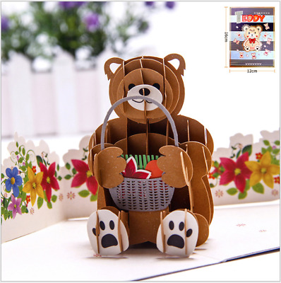 3D Pop Up Handmade Greeting Cards Happy Birthday Postcard Gift Cards Teddy Bear