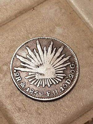 MEXICO 1859 MoFH SILVER 2 Reales. CAP AND RAYS TYPERare Silver Coin**