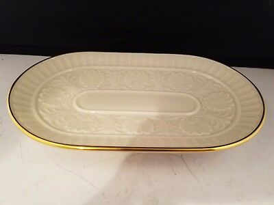 "Lenox Dish Plate Tray Embossed FLowers Ivory with gold trim 8.25"" x 5"" USA"