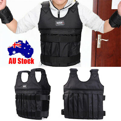 Adjustable Weighted Weight 20kg Vest Gym Training Running Comfortable Durable AU
