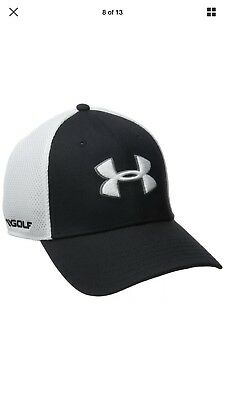 257f4891576 NEW Under Armour Golf Spacer Mesh Black White Mens Fitted L XL HAT CAP 2.0
