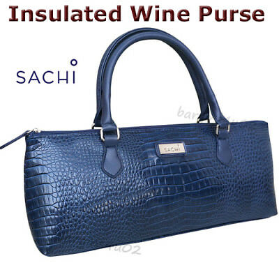 Sachi Wine Bottle Insulated Cooler Bag Tote Carrier Purse Handbag Crocodile Navy