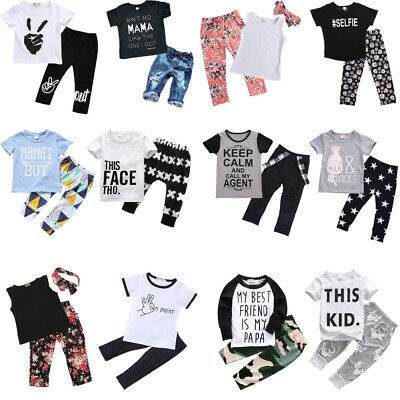Toddler Kids Baby Boy Girls Outfits Clothes T-shirt Tops+Pants Trousers Set 0-7Y