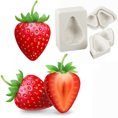3x Strawberry Fruit Silicone Mould Cake Fondant Chocolate Icing Mold Decors