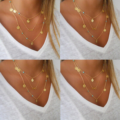 7178570df883 Lucky Womens Gold Plated Beaded Chain Choker Necklace Sequin Pendant  Collarbone
