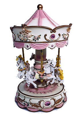 Vintage Musical carousel 4 horses carousel box toy child baby AU Stock