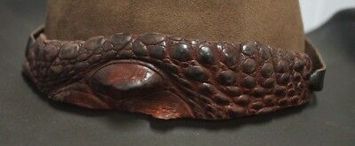 Genuine Crocodile Leather Brown HAT BAND leather sides presented in tin giftbox