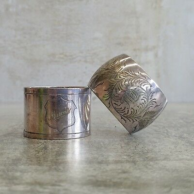 2 Vintage Napkin Rings Silver Plated Monogrammed FWD and Marcia Tarnished Aged