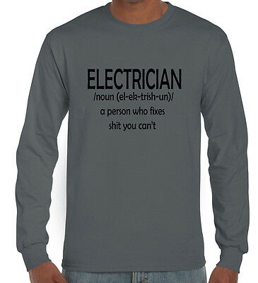 Funny men's long sleeve T-Shirts Electrician tradie Large check chart dad uncle
