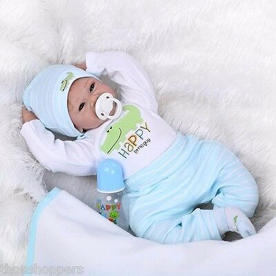 Handmade Real Life Looking 55cm Vinyl Silicone Cotton Reborn Baby Doll #54