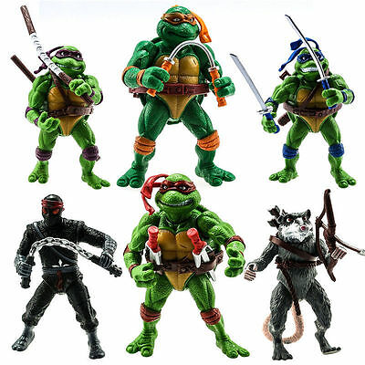 CLASSIC TMNT Teenage Mutant Ninja Turtles 6PCS Action Figure Toys Set Collection